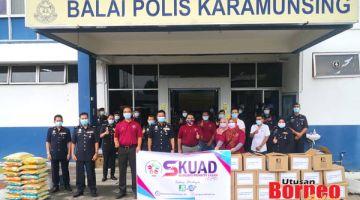 SUMBANGAN: Habibi (empat kiri) bersama pihak KPS menyampaikan bantuan kepada anggota PVR IPD Kota Kinabalu.
