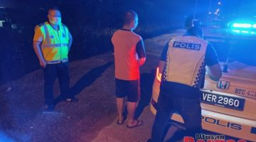Polis mengeluarkan kompaun kepada seorang individu ingkar PKPB SOP Diperketatkan kerana keluar rumah tanpa alasan munasabah selepas jam 8 malam.