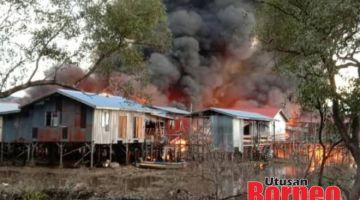 TERBAKAR: Keadaan kebakaran memusnahkan 30 rumah di Kampung Meruntum di sini.
