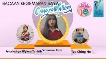 TAHNIAH: Pemenang kategori pelajar Pertandingan Video Membaca Video Bacaan Kegemaran Saya 2021 anjuran Pustaka Negeri Sarawak.