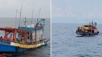 Bot nelayan Vietnam dan tempatan yang ditahan oleh APMM atas pelbagai kesalahan.