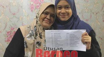 CEMERLANG : Hafizah (kanan) bersama ibunya syukur mendapat keputusan yang cemerlang.