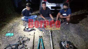 SUSPEK : Kesemua suspek yang ditangkap dibawa ke IPD Tawau untuk siasatan lanjut.