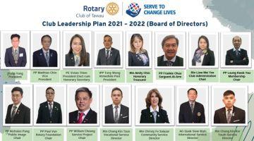 JAWATANKUASA: Ahli lembaga Kelab Rotary Tawau yang baharu dilantik untuk sesi tahun sesi tahun 2021-2022.