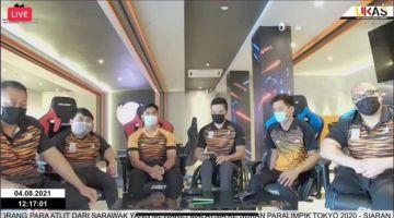 Lima atlet para dari Sarawak (dari kiri) Bonnie, Jong, Muhammad Nur Syaiful, Jamery dan Wiro ketika mengikuti Amanat Khas Ketua Menteri menerusi aplikasi Zoom hari ini.