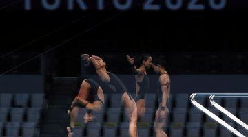 Pandelelamembuat terjunan dalam pusingan akhir acara 10 meter platform wanita pada Sukan Olimpik Tokyo 2020 di Pusat Akuatik Tokyo, hari ini. - Gambar Bernama