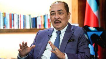 Hajiji ketika temu bual bersama Bernama berhubung sambutan Hari Malaysia di pejabatnya. - Gambar Bernama