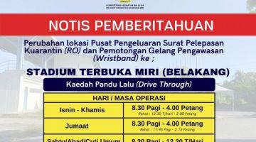Notis pemberitahuan dikeluarkan oleh Pejabat Kesihatan Bahagian Miri.