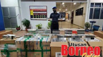 RAMPASAN: Kesemua rokok yang berjaya dirampas dibawa ke Markas PPM Sandakan untuk tindakan selanjutnya.