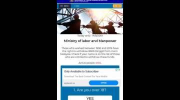 PALESU: Gambar ba skrin website ti nguingka penguna ke bukai ti minta  penguna meresa  pematut sida ngemansutka duit nya.