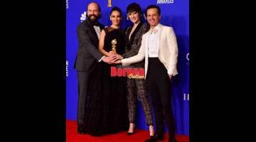 PENGUMUMAN BAFTA: (Dari kiri) Ketua Eksekutif BAFTA Amanda Berry bersama dua pelakon Inggeris Ella Balinska dan Asa Butterfield sebelum pengumuman senarai calon BAFTA di London pada 7 Januari lepas. Filem 'Joker', yang dibintangi pemenang anugerah Golden Globe, Joaquin Phoenix, memperolehi 11 pencalonan bagi anugerah filem utama di Britain. — Gambar AFP