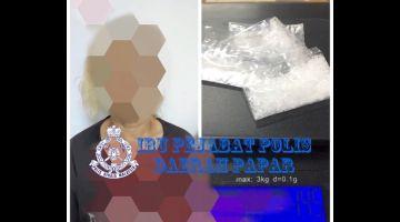 TANGKAP: Suspek warga tempatan yang ditahan bersama syabu seberat 14.5 gram di Bongawan.