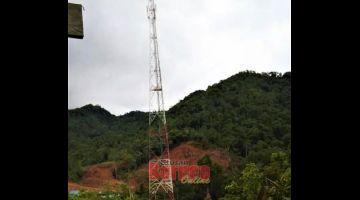 SEKADAR HIASAN: Menara telekomunikasi Nanga Serau, Katibas di Song yang didakwa tidak berfungsi hampir setahun.
