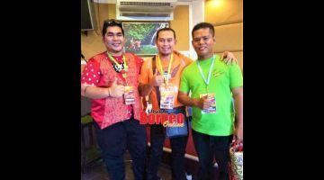 KENANGAN: Anthony (kanan) ketika bersama Saufi (kiri) dan Jerry ketika penganjuran BYSF pada 2017 di Sibu.