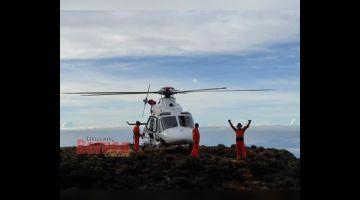 UJI: Latihan menyelamat dilaksanakan di tapak pendaratan Paka di kawasan Gunung Kinabalu.
